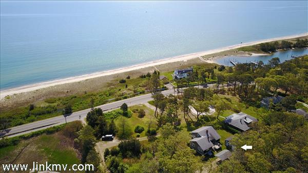 Aerial view of 229 Sea View Avenue and Nantucket Sound