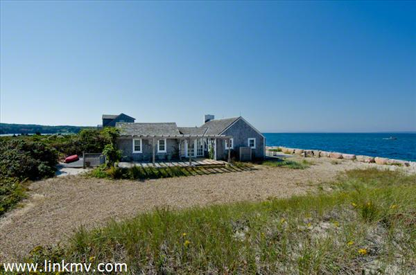 Beach House Sits On Barrier Beach Between Vineyard Sound and Lake Tashmoo