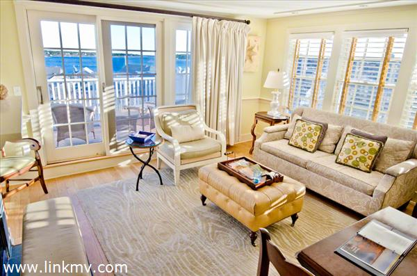 Open Living and Dining Areas Enjoy Edgartown Harbor Views From Third Floor