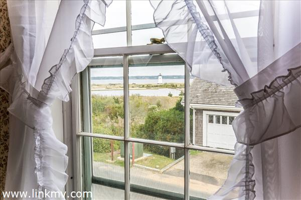 Looking at Edgartown lighthouse from 2nd story window