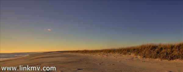 200' private beach at twilight.