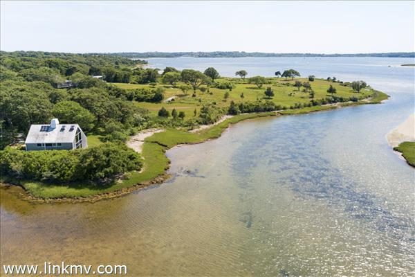 House and conservation land on Menemsha Pond