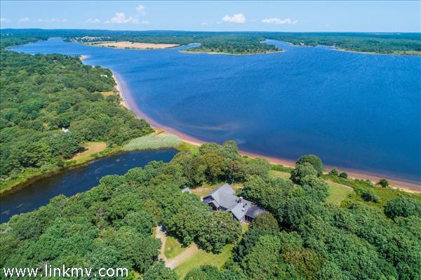 Stunning views of and access to Tisbury Great Pond and the Atlantic ocean beyond.