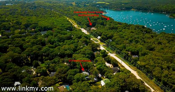 Aerial View Showing Proximity to Tennis Courts (left) and Tashmoo Boat Launch (right)