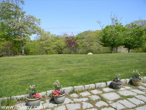 Lovely stone patio and large well manicured lawn