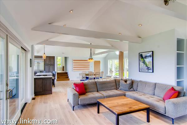 The spacious great room with open floor plan is