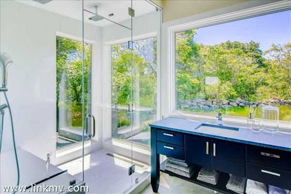 with a steam shower and radiant heat.