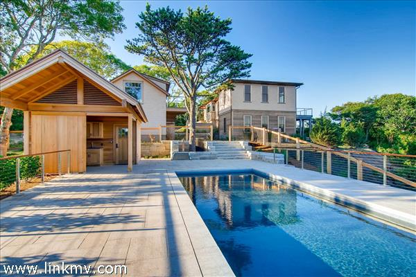 Aquinnah water view home with pool