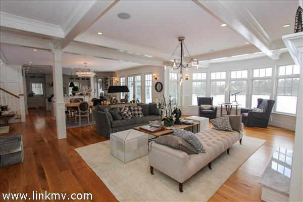 View of living room to dining room and kitchen.