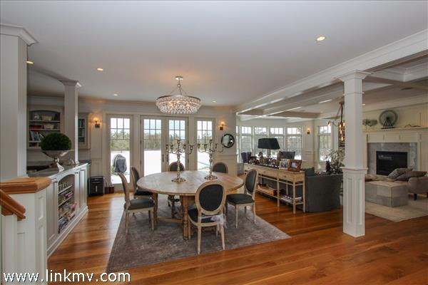 The open floor plan of the first floor allows activity and conversation to flow easily.