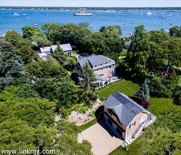 Arial View Main House, Carriage House with Ferry and Harbor Views