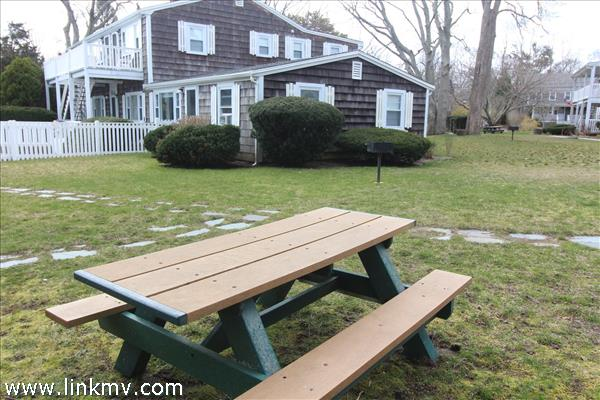 Exterior side & assoc. picnic table and grill