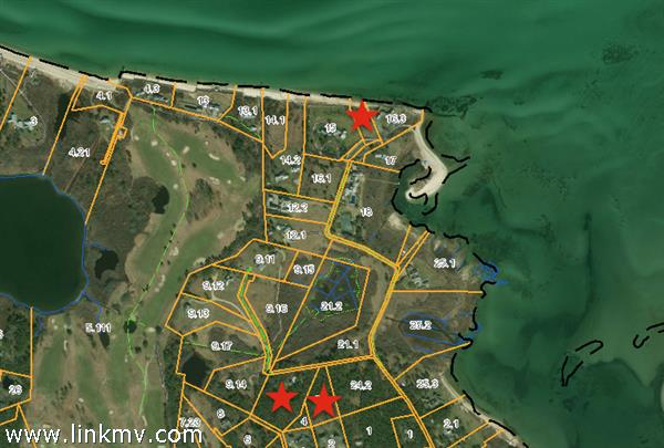 Three lots - Beach lot at top of image and 5&9 Lenssen Way at bottom.
