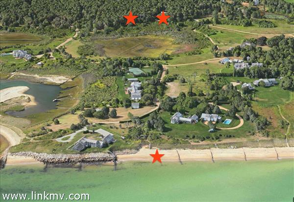 Three lots - These properties are located in one of Edgartown's most desirable neighborhoods. 3 lots for sale. Beach lot in foreground and 5&9 Lenssen Way behind.