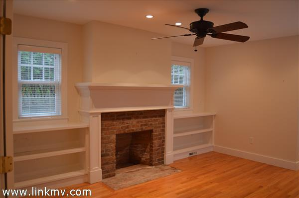 Master-suite sitting room fireplace