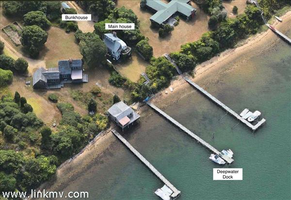 Aerial shows the different components of this waterfront property on Edgartown Harbor.