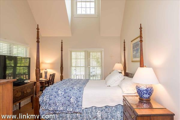 Master Bedroom Suite Has Vaulted Ceilings and Private Bathroom - First Floor
