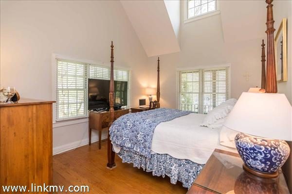 Master Bedroom Suite Has Vaulted Ceilings and Private Bath - First Floor