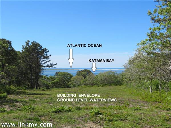 Beautiful waterfront lot on Katama Bay with commanding views out to the Atlantic Ocean