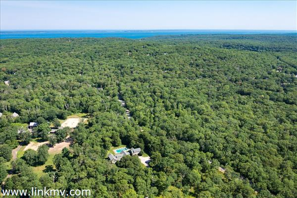 Aerial view over 20 Flint Hill Road, West Tisbury
