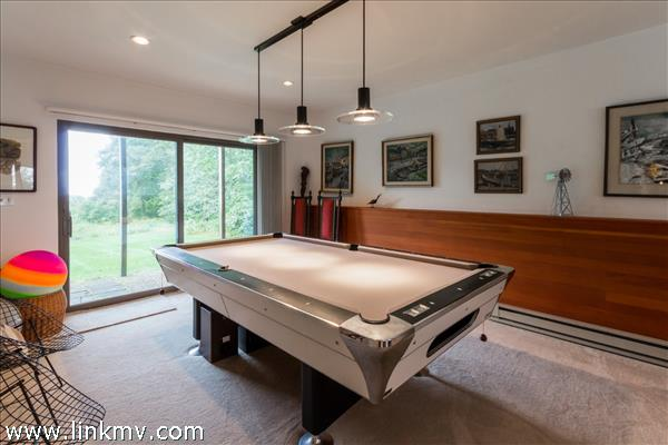 The piece de resistance is the bonus / billiards room with a full bathroom and sliders to the back yard.
