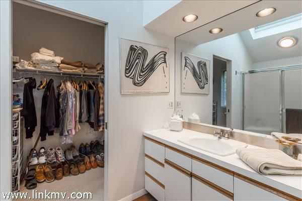Full bathroom off the master closet.