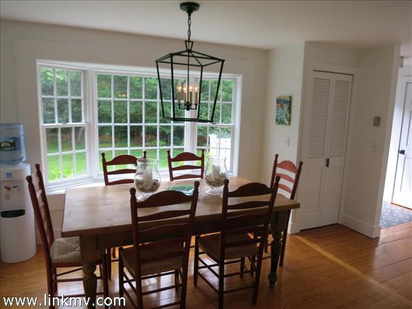 Dinning area of 8 X 10 with hardwood floors.