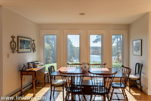 Dining room with views of Fresh Pond