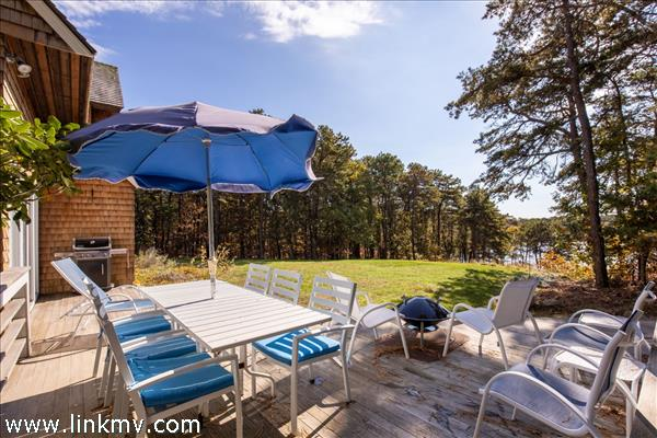 Deck with views of Fresh Pond