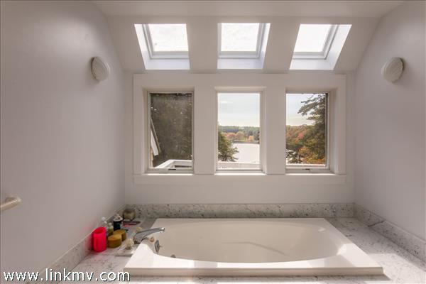 Master bathroom with beautiful views