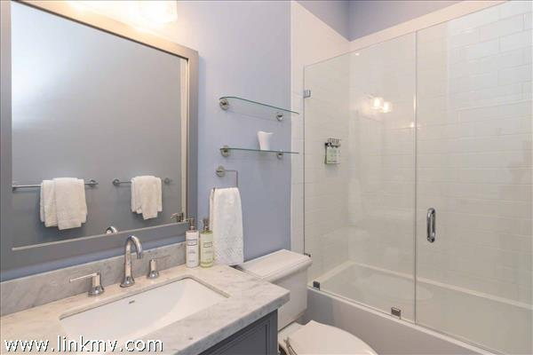 Example of Shared Bathroom with Tub and Shower Combination