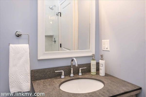 Example of Master Bathroom with Glass Walk-In Shower