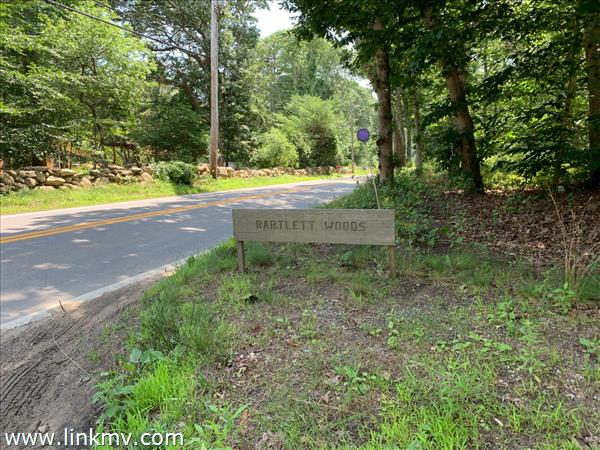 Entrance to Bartlett Woods from South Road in Chilmark