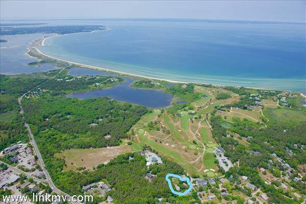 #66 Home Location abutts  The Private Edgartown golf Club on side & rear of property.See the Blue circle