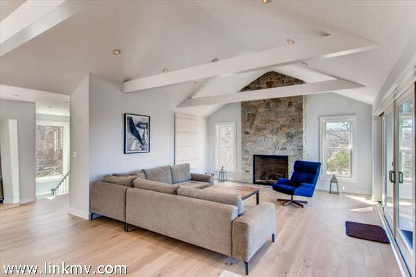light and airy with cathedral ceilings and a wall of windows.