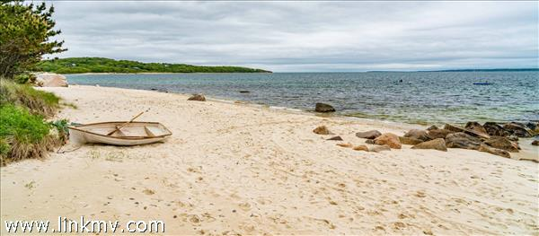 Private beach on Vineyard Sound stretches to Lambert's Cove