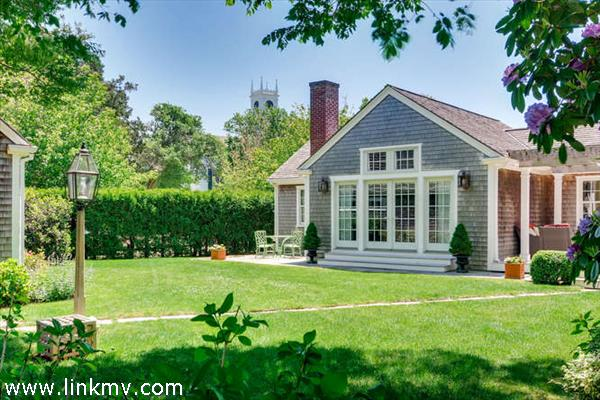 Edgartown Village home with view to Whaling Church tower