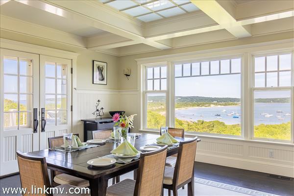 The dining area also offers spectacular water views.