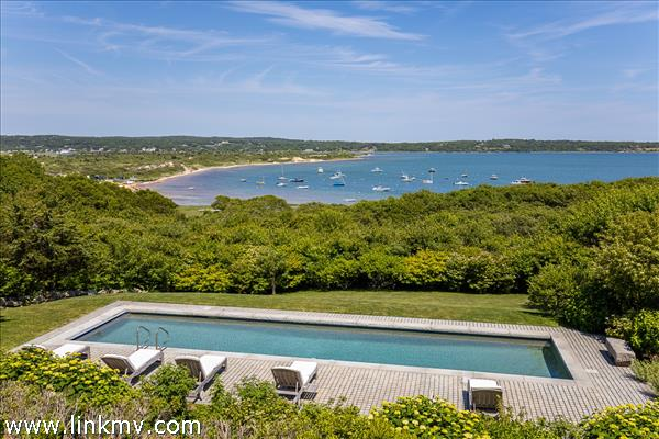 Views of Vineyard Sound and Menemsha Pond over the swimming pool area.