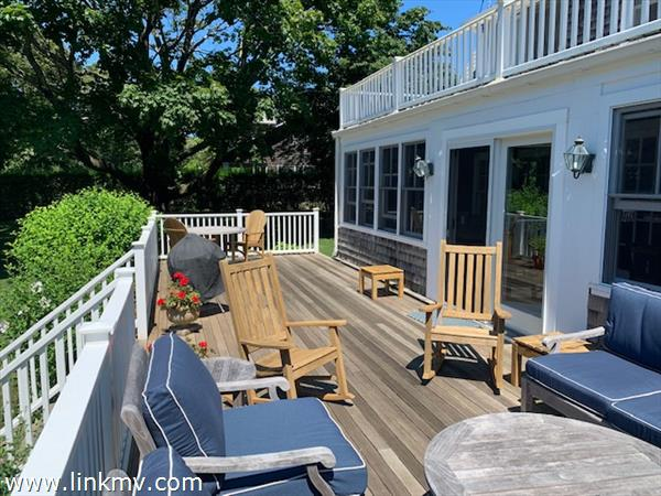 Back deck seating for evening parties
